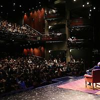 Director Jon Stewart and Iranian Canadian journalist Maziar Bahari speak with Professor Mark Danner at the Berkeley Repertory Theatre about the film Rosewater, on Tuesday, Oct 21, 2004. (Photo/Alex Menendez/ UC Berkeley Graduate School of Journalism)