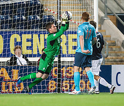 Falkirk's keeper Michael McGovern.<br /> Falkirk 2 v 1 Dunfermline, Scottish League Cup, 27/8/2013, at The Falkirk Stadium.<br /> &copy;Michael Schofield.