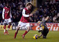 Photo: Leigh Quinnell/Sportsbeat Images.<br /> Reading v Arsenal. The FA Barclays Premiership. 12/11/2007. Arsenals Alex Hleb fires home a goal past Reading goalkeeper Marcus Hahnemann.