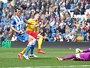 Watford Matej Vydra scores the winning goal during the Sky Bet Championship match between Brighton and Hove Albion and Watford at the American Express Community Stadium, Brighton and Hove, England on 25 April 2015. Photo by Phil Duncan.