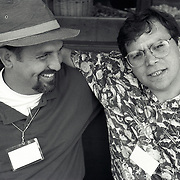 Black Team members Rolando Otero, LA Times, Rich Messina, right, Hartford Courant at the Eddie Adams Workshop, 1993