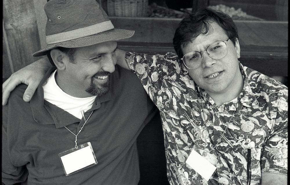 Black Team members Rolando Otero, LA Times, Rich Messina, right, Hartford Courant at the Eddie Adams Workshop, 1993
