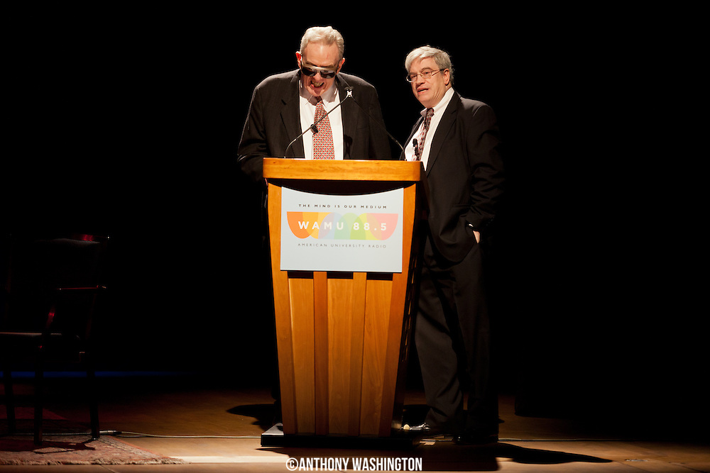 Ed Walker (left), host of The Big Broadcast on WAMU 88.5, and Rob Bamberger, host of Hot Jazz Saturday Night on WAMU 88.5, on stage at The Big Broadcast 50th Anniversary Celebration at the Lisner Auditorium on Sunday, November 3, 2014 in Washington, DC.