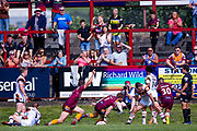 Batley Bulldogs Dave Scott (1) takes the Bulldogs into the lead for the first time in the game during the Kingstone Press Championship match between Batley Bulldogs and Bradford Bulls at the Fox's Biscuits Stadium, Batley, United Kingdom on 16 July 2017. Photo by Simon Davies.