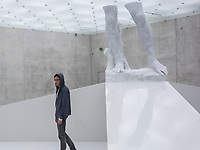 """Argentine sculptor and 2011 Venice Biennale exhibitor Adrián Villar Rojas known for his monumental site-specific works is seen at the Kunsthaus Bregenz at his """"The Theater of Disappearance"""" Exhibition."""