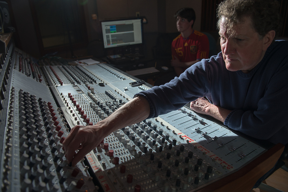 Audio production student Leo Sideras (Left) and Eddie Ashworth record a session with Controlled Folly at MDIA Sound.