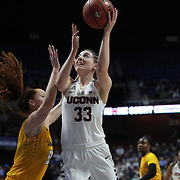 Katie Lou Samuelson, UConn, shoots two during the UConn Huskies Vs East Carolina Pirates Quarter Final match at the  2016 American Athletic Conference Championships. Mohegan Sun Arena, Uncasville, Connecticut, USA. 5th March 2016. Photo Tim Clayton