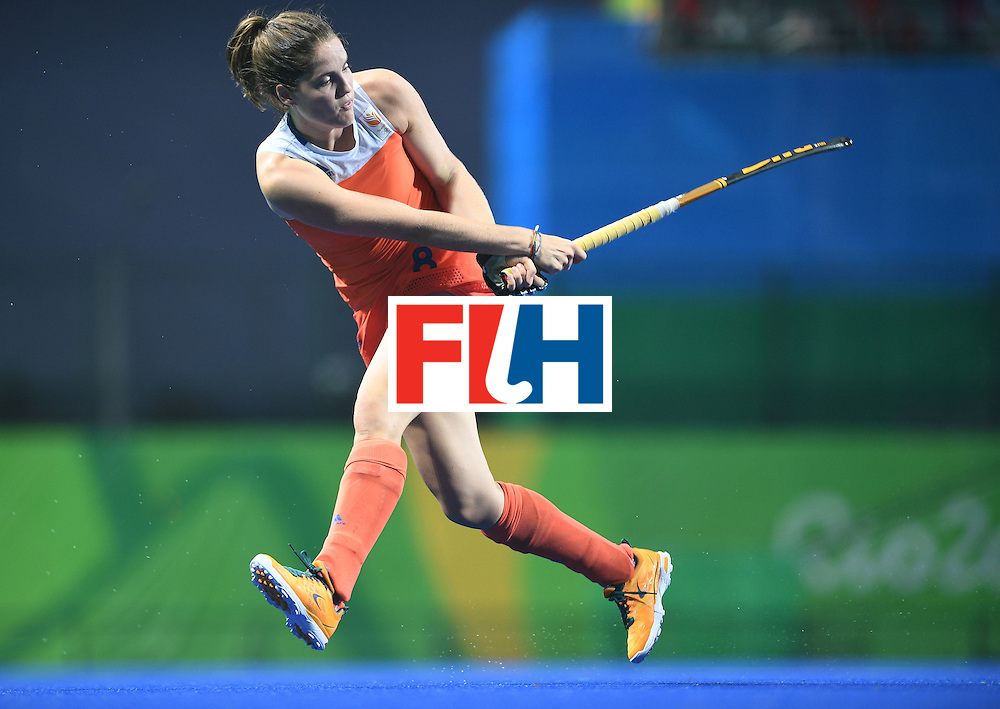 Netherland's Marloes Keetels hits the ball during the women's field hockey Netherlands vs South Korea match of the Rio 2016 Olympics Games at the Olympic Hockey Centre in Rio de Janeiro on August, 8 2016. / AFP / MANAN VATSYAYANA        (Photo credit should read MANAN VATSYAYANA/AFP/Getty Images)