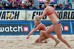 Laura Ludwig and Sara Goller of Germany at A1 Beach Volleyball Grand Slam tournament of Swatch FIVB World Tour 2010, semifinal, on July 31, 2010 in Klagenfurt, Austria. (Photo by Matic Klansek Velej / Sportida)