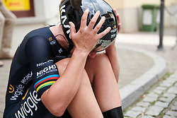 The result is confirmed, Lisa Brennauer (GER) secures the yellow jersey after Lotto Thuringen Ladies Tour 2018 - Stage 7, an 18.7 km time trial starting and finishing in Schmölln, Germany on June 3, 2018. Photo by Sean Robinson/velofocus.com