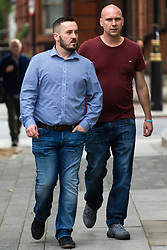 James Goddard, left, arrives at Westminster Magistrates Court in London where he is on trial for harassment of MP Anna Soubry outside the Houses of Parliament. LONDON, July 19 2019.