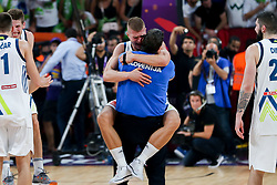 Edo Muric of Slovenia and Marko Macura celebrating after winning during the Final basketball match between National Teams  Slovenia and Serbia at Day 18 of the FIBA EuroBasket 2017 at Sinan Erdem Dome in Istanbul, Turkey on September 17, 2017. Photo by Vid Ponikvar / Sportida