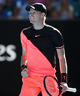 KYLE EDMUND (GBR) macht die Faust und jubelt,Jubel,Emotion,Freude<br /> <br /> Tennis - Australian Open 2018 - Grand Slam / ATP / WTA -  Melbourne  Park - Melbourne - Victoria - Australia  - 23 January 2018.