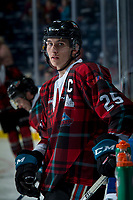 KELOWNA, CANADA - MARCH 10:  Cal Foote #25 of the Kelowna Rockets stands at the bench during warm up against the Kamloops Blazers on March 10, 2018 at Prospera Place in Kelowna, British Columbia, Canada.  (Photo by Marissa Baecker/Shoot the Breeze)  *** Local Caption ***