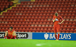 ANFIELD, ENGLAND - Friday, May 2, 2014: Liverpool's Rafael Paez Cardona and Villyan Bejev look dejected as their side lose 1-0 to Manchester United during the Under 21 FA Premier League Semi-Final match at Anfield. (Pic by David Rawcliffe/Propaganda)
