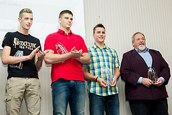 Axel Luxa, Nace Plesko and Matija Muhar with his coach Joze Satler during the Slovenia's Athlete of the year award ceremony by Slovenian Athletics Federation AZS on November 8, 2013 in Grand Hotel Toplice, Bled, Slovenia. Photo by Vid Ponikvar / Sportida