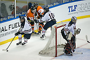 Robert Morris defenseman Eric Israel takes the puck out of the defensive zone during the Atlantic Hockey final against RIT at the Blue Cross Arena in Rochester on Saturday, March 19, 2016.