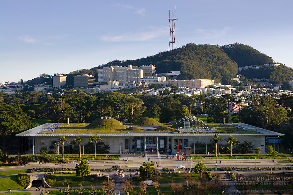 The California Academy of Sciences, the USCF Medical Center, and Sutro Tower seen from the de Young Museum, Golden Gate Park, San Francisco, California