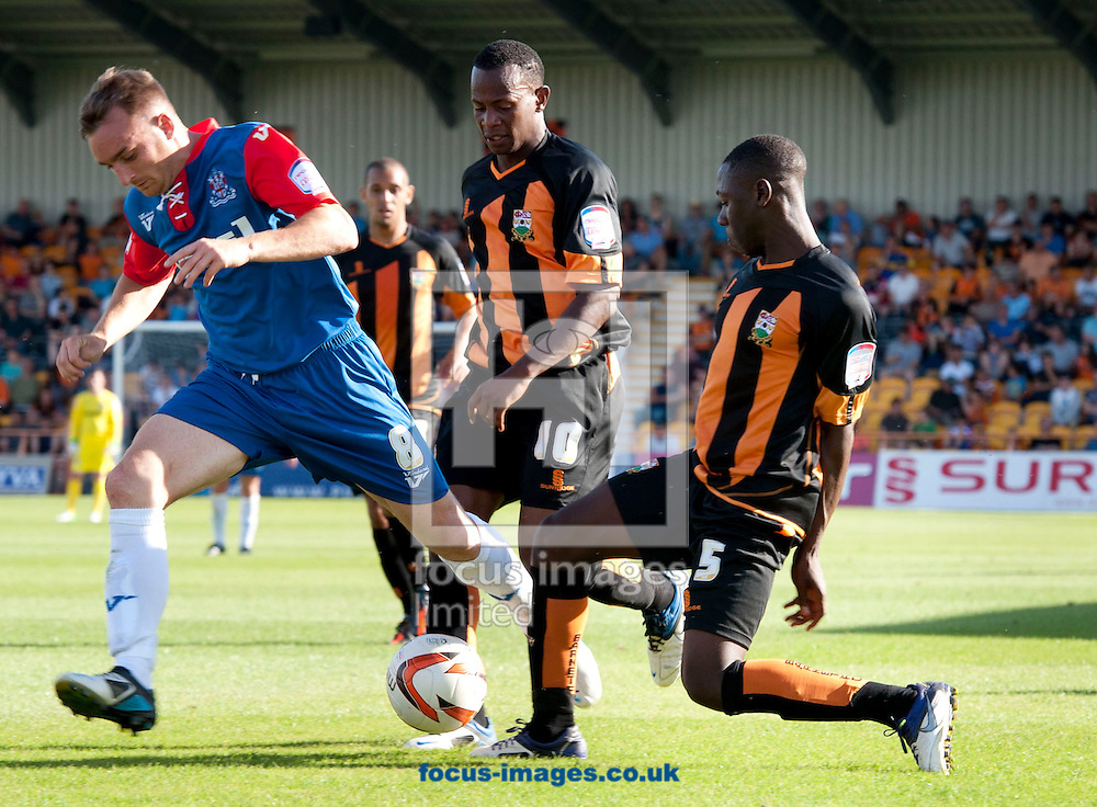 Picture by Matt Crossick/Focus Images Ltd +44 7711 374584.08/09/2012.Andy Yiadom of Barnet and Charlie Lee of Gillingham during the npower League 2 match at Underhill Stadium, London.