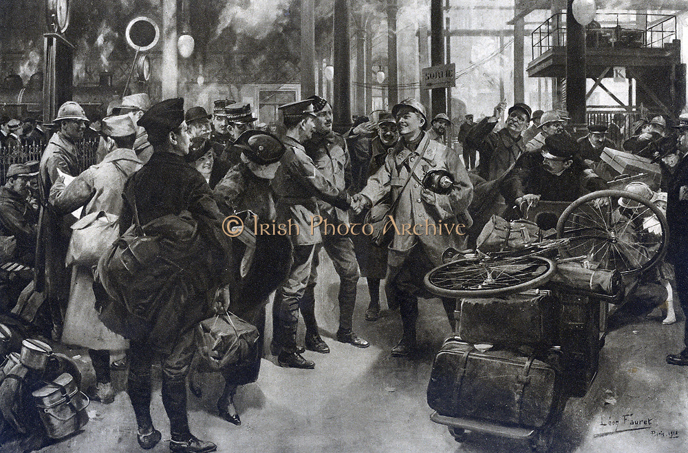 Jovial incident at a French railway-station : A 'Poilu,' laden with souvenirs, greets British soldiers with a cordial handshake.