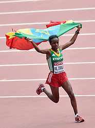 30-08-2015 CHN: IAAF World Championships Athletics day 9, Beijing<br /> Mare Dibaba heeft zondag de marathon op de WK atletiek in Peking gewonnen. De Ethiopische behaalde het goud in een tijd van 2.27.35.<br /> Photo by Ronald Hoogendoorn / Sportida