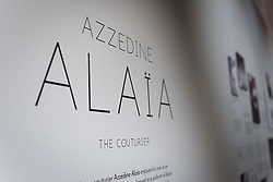 "© Licensed to London News Pictures. 09/05/2018. LONDON, UK.  Preview of ""Azzedine Alaïa:  The Couturier"", the first UK exhibition of Azzedine Alaïa examining the work of one of the most respected fashion designers in history.  Over 60 rare and iconic garments are on display alongside a series of specially commissioned pieces.  The exhibition runs 10 May to 7 October 2018 at the Design Museum.  Photo credit: Stephen Chung/LNP"