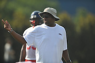 Ole Miss assistant coach Terry Price instructs at football practice in Oxford, Miss. on Sunday, August 7, 2011.