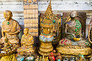 25 JUNE 2013 - BANGKOK, THAILAND:     Buddha statues for sale in the Amulet Market in Bangkok. The market is adjacent to Wat Mahathat, between Maharat Road and the Chao Phraya River.    PHOTO BY JACK KURTZ