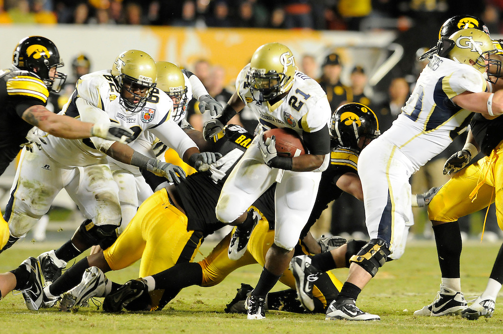 January 5, 2010: Running back Jonathan Dwyer of the Georgia Tech Yellow Jackets runs upfield during the NCAA football game between the Georgia Tech Yellow Jackets and the Iowa Hawkeyes in the Orange Bowl at LandShark Stadium in Miami Gardens, Florida. The Hawkeyes defeated the Yellow Jackets 24-14.