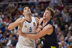 March 2, 2018 - Madrid, Madrid, Spain - Felipe Reyes (L) and Jan Vesely (R) during Fenerbahce Dogus Istanbul victory over Real Madrid (83 - 86) in Turkish Airlines Euroleague regular season game (round 24) celebrated at Wizink Center in Madrid (Spain). March 2nd 2018. (Credit Image: © Juan Carlos Garcia Mate/Pacific Press via ZUMA Wire)