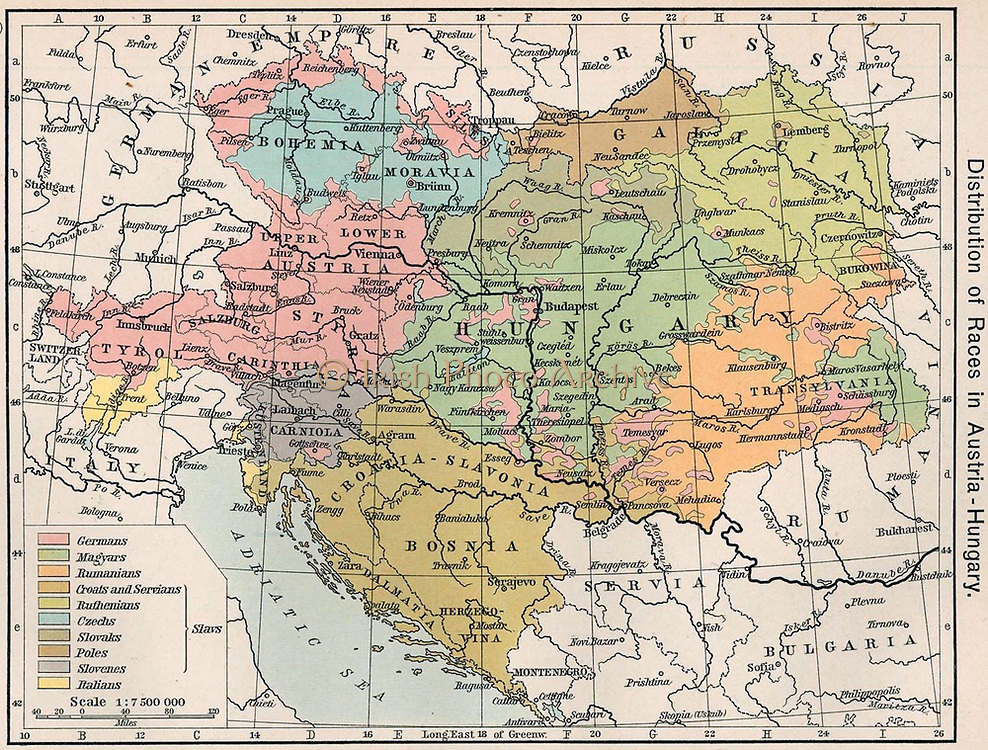 Austria Hungary 1911 'Distribution of Races in Austria-Hungary' from the Historical Atlas by William R. Shepherd