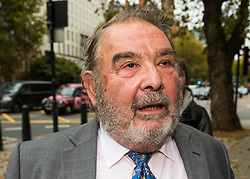 © Licensed to London News Pictures. 29/10/2015. London, UK. LORD HANNINGFIELD arriving at Westminster Magistrates Court in London where he is charged with false accounting in relation to claims for daily allowance at the House of Lords. LORD HANNINGFIELD, who is currently suspended, is accused of 'clocking in' to Parliament and then leaving just minutes later in order to claim daily attendance allowance of £300.  Photo credit: Ben Cawthra/LNP
