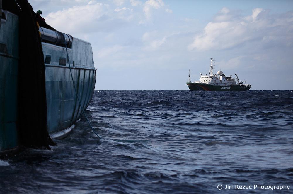 INDIAN OCEAN 15APR13 - The Greenpeace ship Esperanza and the French purse seiner vessel Trevignon in the Mozambique Channel.<br /> <br /> <br /> <br /> The Greenpeace ship Esperanza is on patrol documenting fishing activities in the Indian Ocean.<br /> <br /> <br /> <br /> jre/Photo by Jiri Rezac / Greenpeace