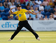 Gloucestershire's Ryan Higgins throws in to the keeper<br /> <br /> Photographer Simon King/Replay Images<br /> <br /> Vitality Blast T20 - Round 8 - Glamorgan v Gloucestershire - Friday 3rd August 2018 - Sophia Gardens - Cardiff<br /> <br /> World Copyright &copy; Replay Images . All rights reserved. info@replayimages.co.uk - http://replayimages.co.uk