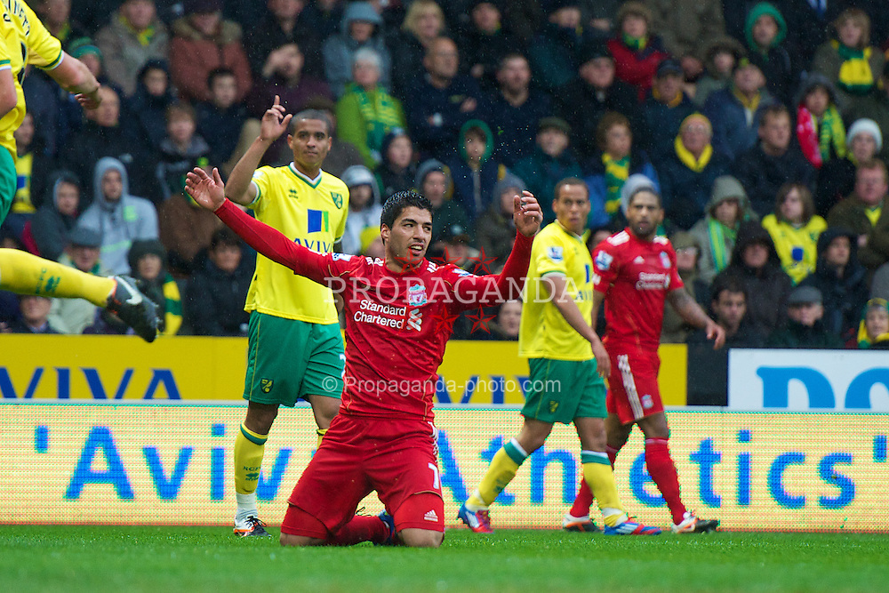 NORWICH, ENGLAND - Saturday, April 28, 2012: Liverpool's Luis Alberto Suarez Diaz appeals for a penalty against Norwich City during the Premiership match at Carrow Road. (Pic by David Rawcliffe/Propaganda)