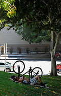 8月29日,在美国加利福尼亚州洛杉矶,一名男子在树下消暑。当日,由于南加州迎来一股热浪,洛杉矶地区的气温高于正常水平18度,许多地区气温将直逼100℉以上。破纪录高的气温将持续至周末,加州能源部敦促民众要自发节省用电。新华社发 (赵汉荣摄)<br /> A man rests in the shade on the lawn outside City Hall on Tuesday, August 29, 2017, in Los Angeles, the United States.  Record-breaking heat will persist across Southern California Tuesday, with Los Angeles County temperatures up to 18 degrees above normal, and forecasters issued a heat advisory for the Los Angeles County coast. California energy authorities urged voluntary conservation of electricity Tuesday as a wave of triple-digit heat strained the state's power grid. (Xinhua/Zhao Hanrong)(Photo by Ringo Chiu)<br /> <br /> Usage Notes: This content is intended for editorial use only. For other uses, additional clearances may be required.
