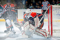 KELOWNA, CANADA -FEBRUARY 1: Cole Kehler G #41 of the Kamloops Blazers defends the net against the Kelowna Rockets on February 1, 2014 at Prospera Place in Kelowna, British Columbia, Canada.   (Photo by Marissa Baecker/Getty Images)  *** Local Caption *** Cole Kehler;