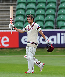 Somerset's James Hildreth celebrates his century. - Photo mandatory by-line: Harry Trump/JMP - Mobile: 07966 386802 - 21/08/15 - SPORT - CRICKET - LV County Championship Division One - Day One - Somerset v Worcestershire - The County Ground, Taunton, England.