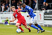 Wrexham AFC Midfielder, Ollie Shenton (23) tackles Eastleigh Defender, Hakeem Odoffin (29) during the Vanarama National League match between Eastleigh and Wrexham FC at Arena Stadium, Eastleigh, United Kingdom on 29 April 2017. Photo by Adam Rivers.