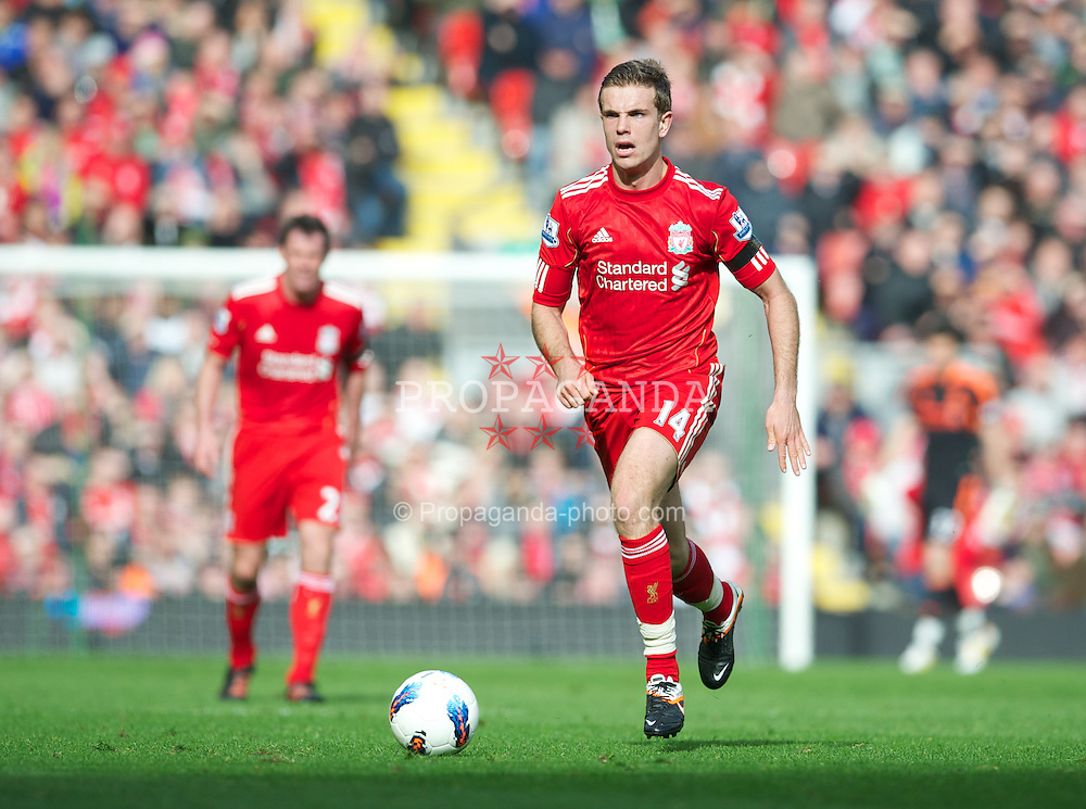 LIVERPOOL, ENGLAND - Saturday, April 7, 2012: Liverpool's Jordan Henderson in action against Aston Villa during the Premiership match at Anfield. (Pic by David Rawcliffe/Propaganda)