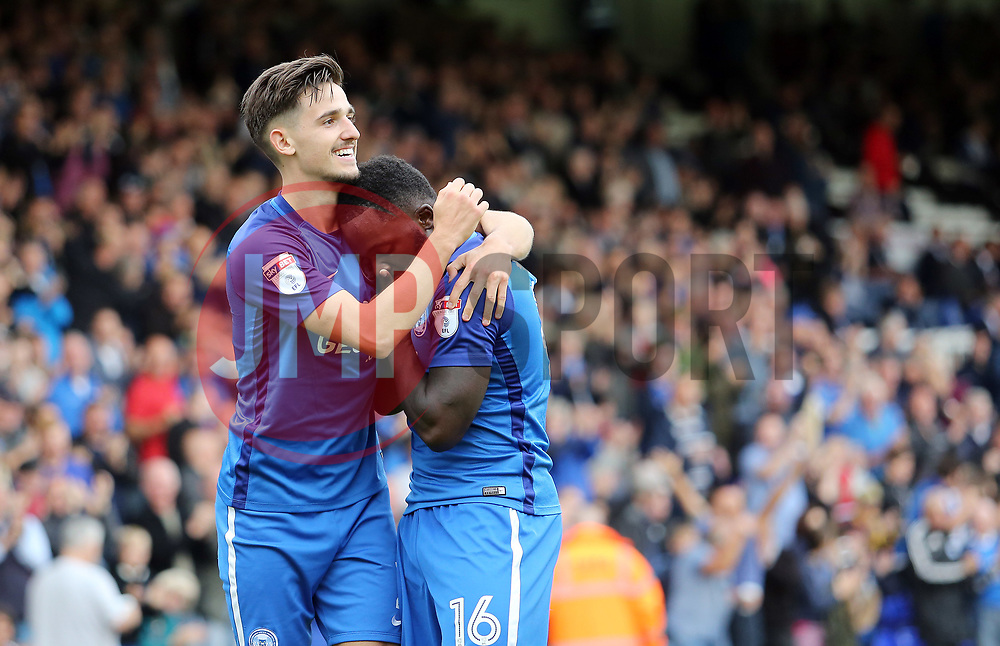 Junior Morias of Peterborough United celebrates scoring his first goal of the game to make it 1-1 with team-mate Liam Shephard - Mandatory by-line: Joe Dent/JMP - 23/09/2017 - FOOTBALL - ABAX Stadium - Peterborough, England - Peterborough United v Wigan Athletic - Sky Bet League One