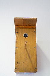 Spy camera hidden in bird box at offices of East German secret Police now STASI Museum in Berlin Germany