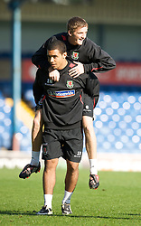 CARDIFF, WALES - Wednesday, October 8, 2008: Wales' Joe Allen and Josh Klein-Davies during training at Ninian Park ahead of the UEFA European U21 Championship Play-Off match against England. (Photo by David Rawcliffe/Propaganda)
