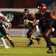 22 September 2018: San Diego State Aztecs quarterback Ryan Agnew (9) drops back to pass late in the fourth quarter trailing 20-17. The San Diego State Aztecs beat the Eastern Michigan Eagles 23-20 in over time at SDCCU Stadium in San Diego, California.