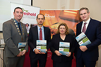Repro Free: Deputy Mayor Cllr Mike Cubbard , Regional Manager Diarmuid O'Sullivan  Threshold and Chairperson  Aideen Hayden  at the launch of Threshold: The Galway Tenancy Protection Service annual report  by Minister for Community Development, Natural Resources and Digitial Development  Sean Kyne in Galway.  Photo:Andrew Downes, xposure .