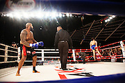 Madison Square Garden hosts it's first ever Muay Thai fight event, New York, New York, March 16, 2012. Brian Collette, right,  defeats Marcus Taylor, left, by KO (professional Muay Thai bout).