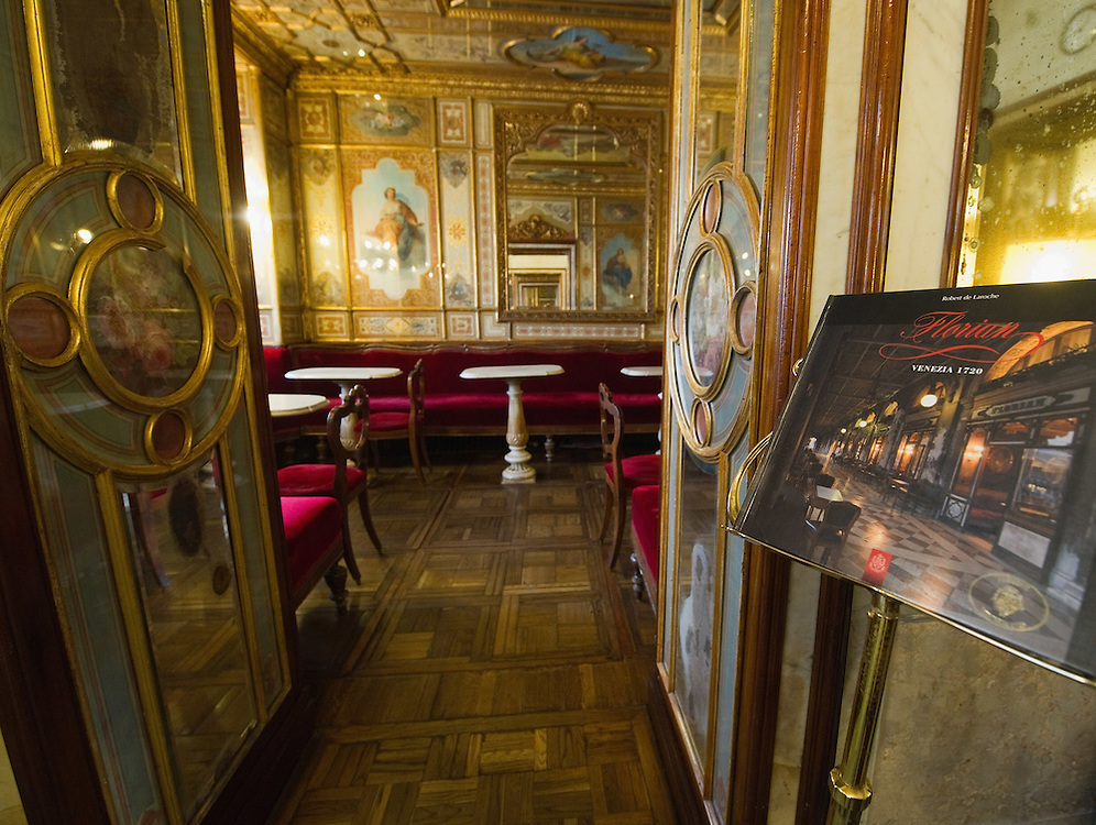 VENICE, ITALY - DECEMBER 02:  A general view inside the Caffe Florian on December 2, 2011 in Venice, Italy.The Venetian coffee houses have a  long standing history, established at the beginning of 1700 around St. Mark Square have been the centre of cultural meeting and innovations for centuries and served customers like Dickens, Goethe, Casanova and Lord Byron. San Marco is one of the six sestieri of Venice, lying in the heart of the city.