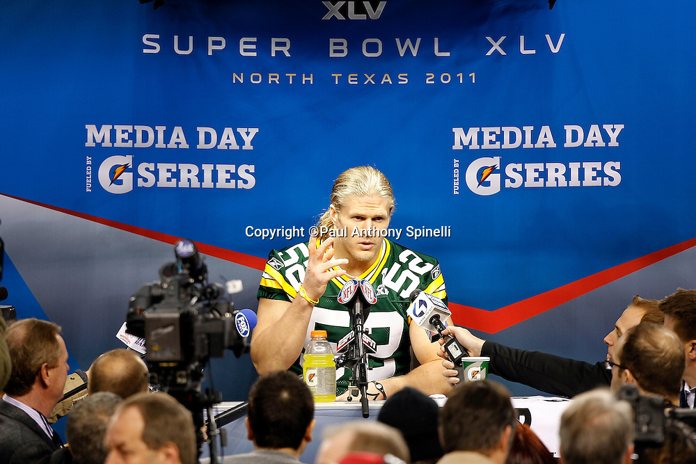 Green Bay Packers linebacker Clay Matthews (52) gestures with his hand as he speaks to the press at Super Bowl XLV media day prior to NFL Super Bowl XLV against the Pittsburgh Steelers. Media day was held on Tuesday, February 1, 2011 in Arlington, Texas. ©Paul Anthony Spinelli