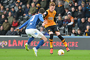 Jonathan Grounds of Birmingham city and Hull City midfielder Sam Clucas during the Sky Bet Championship match between Hull City and Birmingham City at the KC Stadium, Kingston upon Hull, England on 24 October 2015. Photo by Ian Lyall.