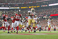 20 January 2013: Runnungback (21) Frank Gore of the San Francisco 49ers runs the ball and scores a touchdown against the Atlanta Falcons during the second half of the 49ers 28-24 victory over the Falcons in the NFC Championship Game at the Georgia Dome in Atlanta, GA.